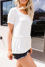 Ruffled Peplum Top In Cream