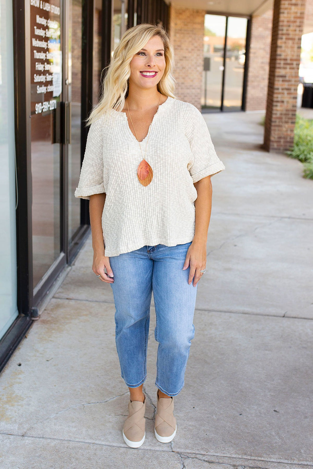 Rolled Sleeve Knit Top in Oatmeal - Amaranth Collection