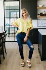 Silky Spots Ruffle Sleeve Blouse In Honey