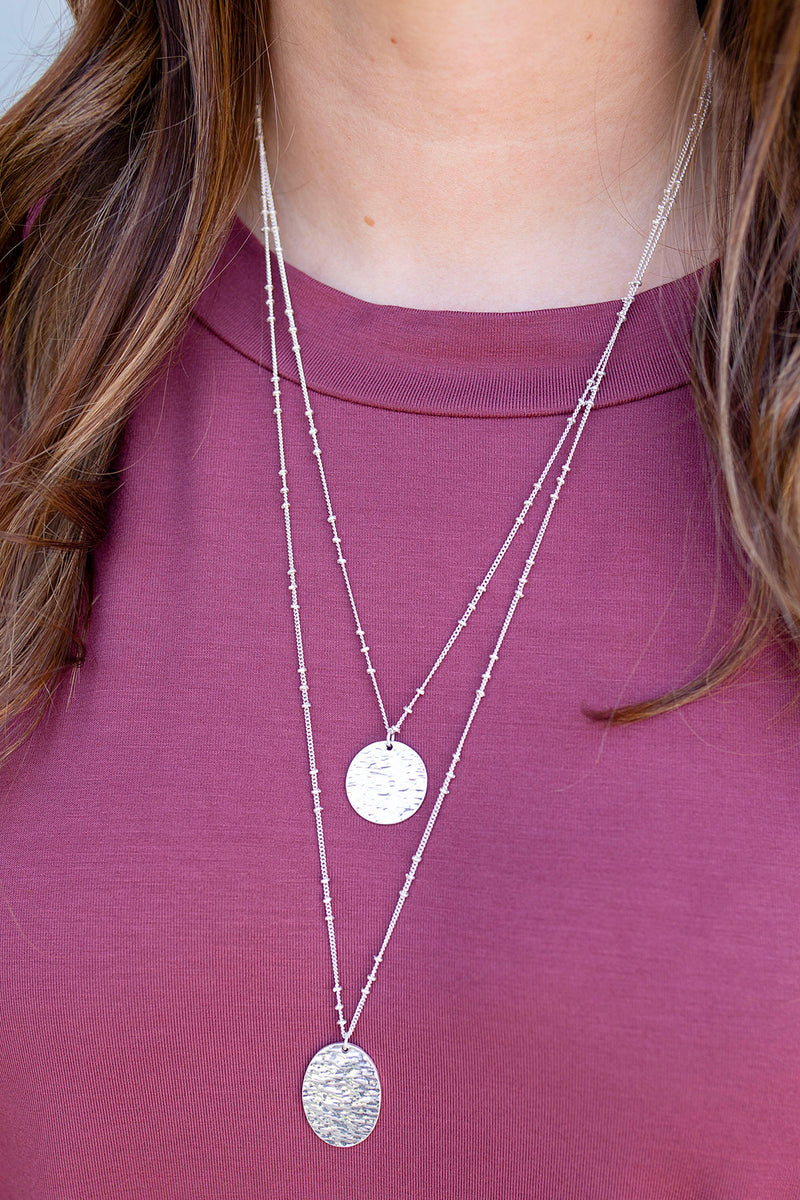 Layered Coin Necklace in Silver