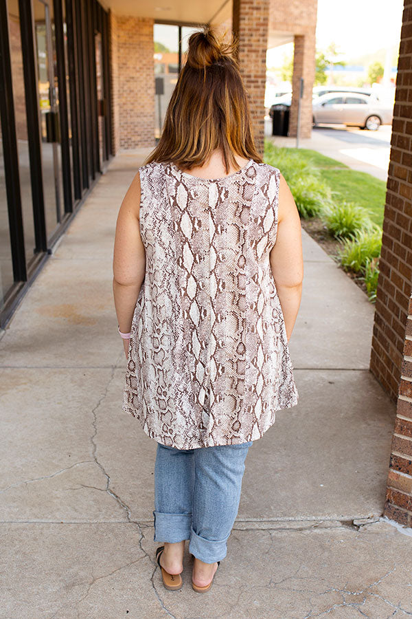 Here's To You Snake Print Top in Brown