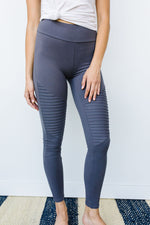 Soft As Butter Moto Athletic Leggings In Charcoal - Amaranth Collection