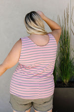 Stripe On All Summer Long Tank In Mauve - Amaranth Collection