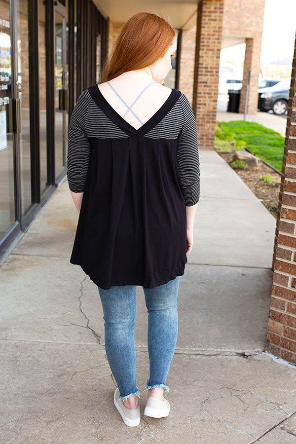 Black V Neck Front and Back Striped Top