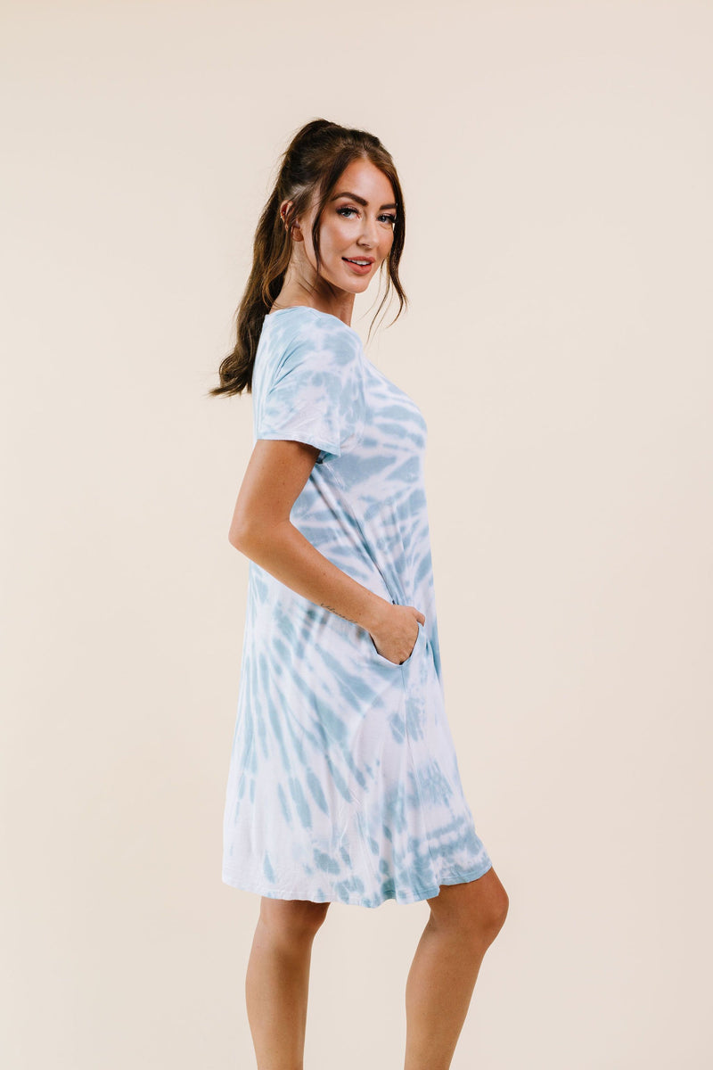 Swirl Tie Dye Dress In Aqua - Amaranth Collection