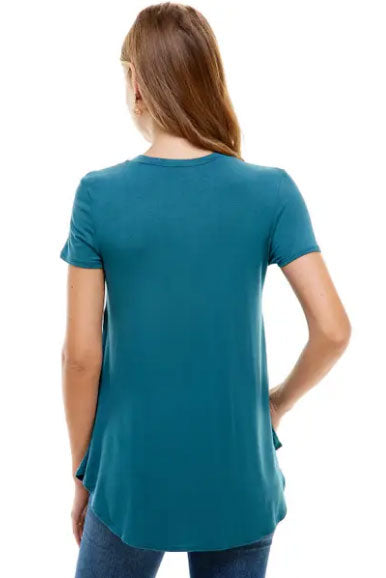Teal Rounded Hem T-shirt