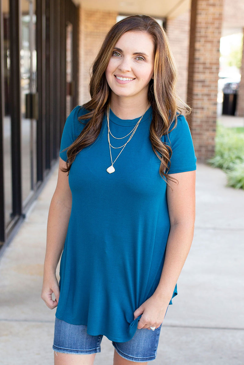 Teal Blue Rounded Hem T-shirt - Amaranth Collection