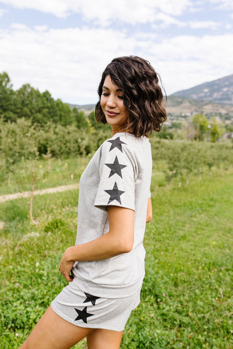 Three Star Top In Heather Gray