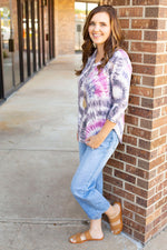Tie Dye Swirls Quarter Sleeve Top - Amaranth Collection