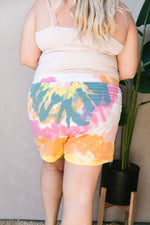 Tie Dye Swirls Shorts In Yellow