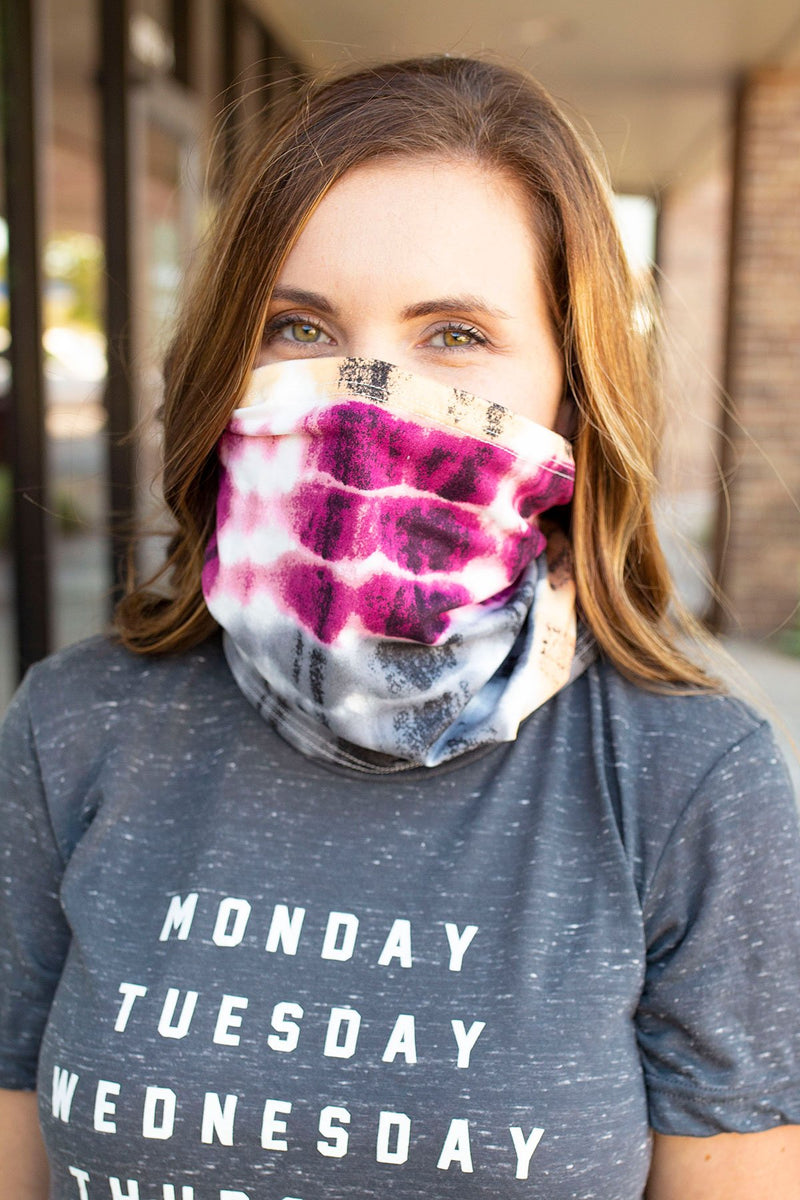 Tie Dye Face Bandana Mask in Magenta - Amaranth Collection