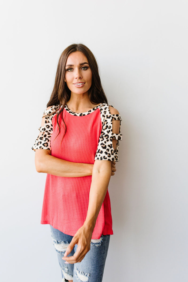 Waffle Knit Leopard Ladder Sleeve Top - Amaranth Collection