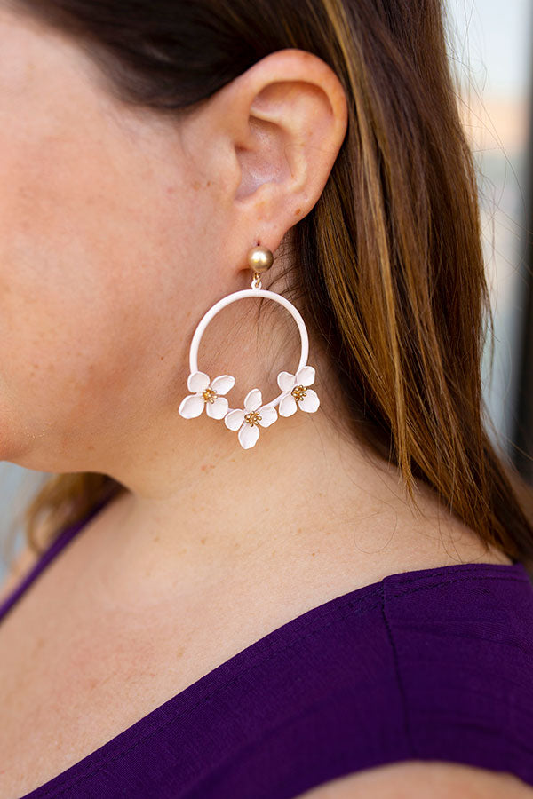 Flower Trio Hoop Earring in Light Pink