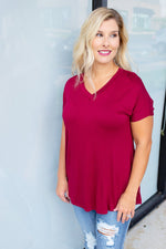 Comfy Solid V Neck Tee in Wine - Amaranth Collection