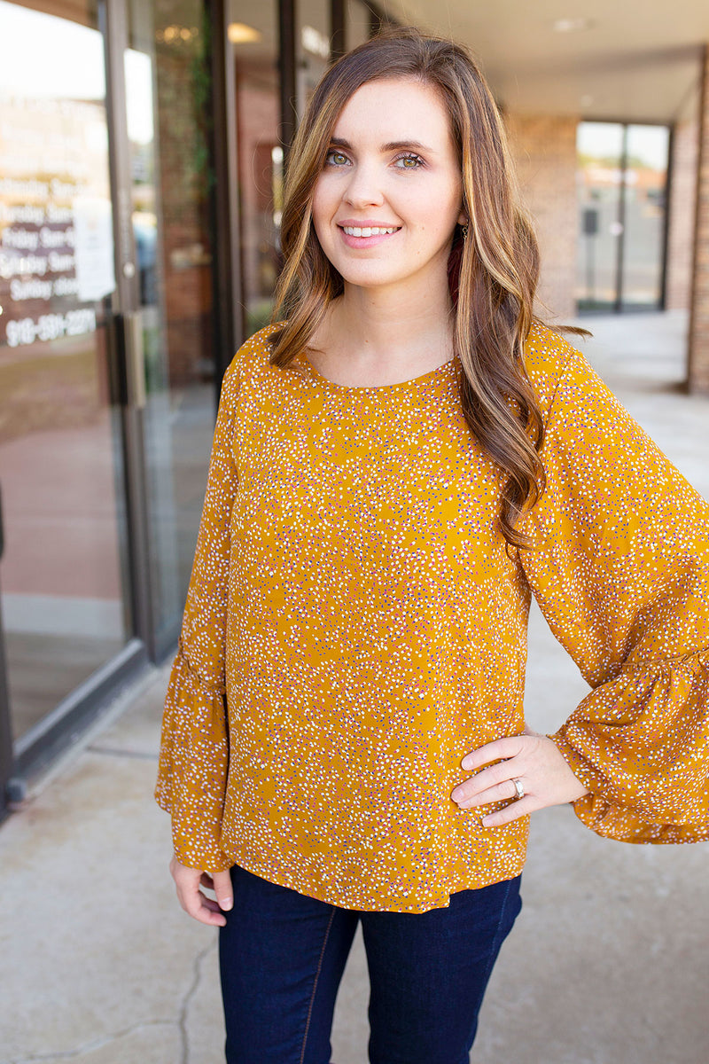 Sprinkle Dot Blouse in Mustard