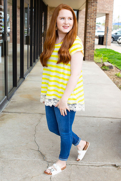 Yellow Striped Top with Lace Detail