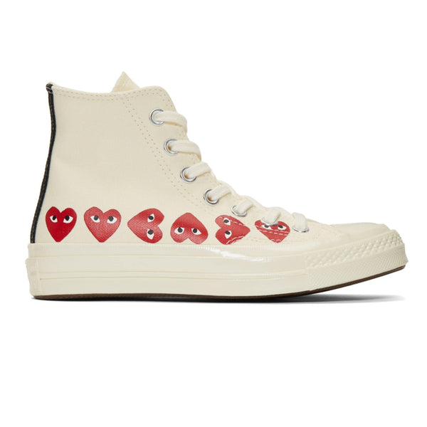 CDG X Converse Multi Heart Hi Off White Shoe
