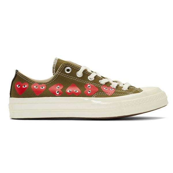 CDG X Converse Multi Heart Low Khaki shoe