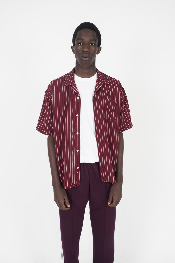 Pebble Crepe Camp Shirt Burgundy