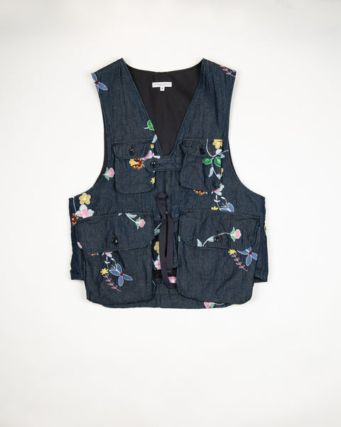 Engineered Garments Indigo Denim Floral Embroidery Game Vest