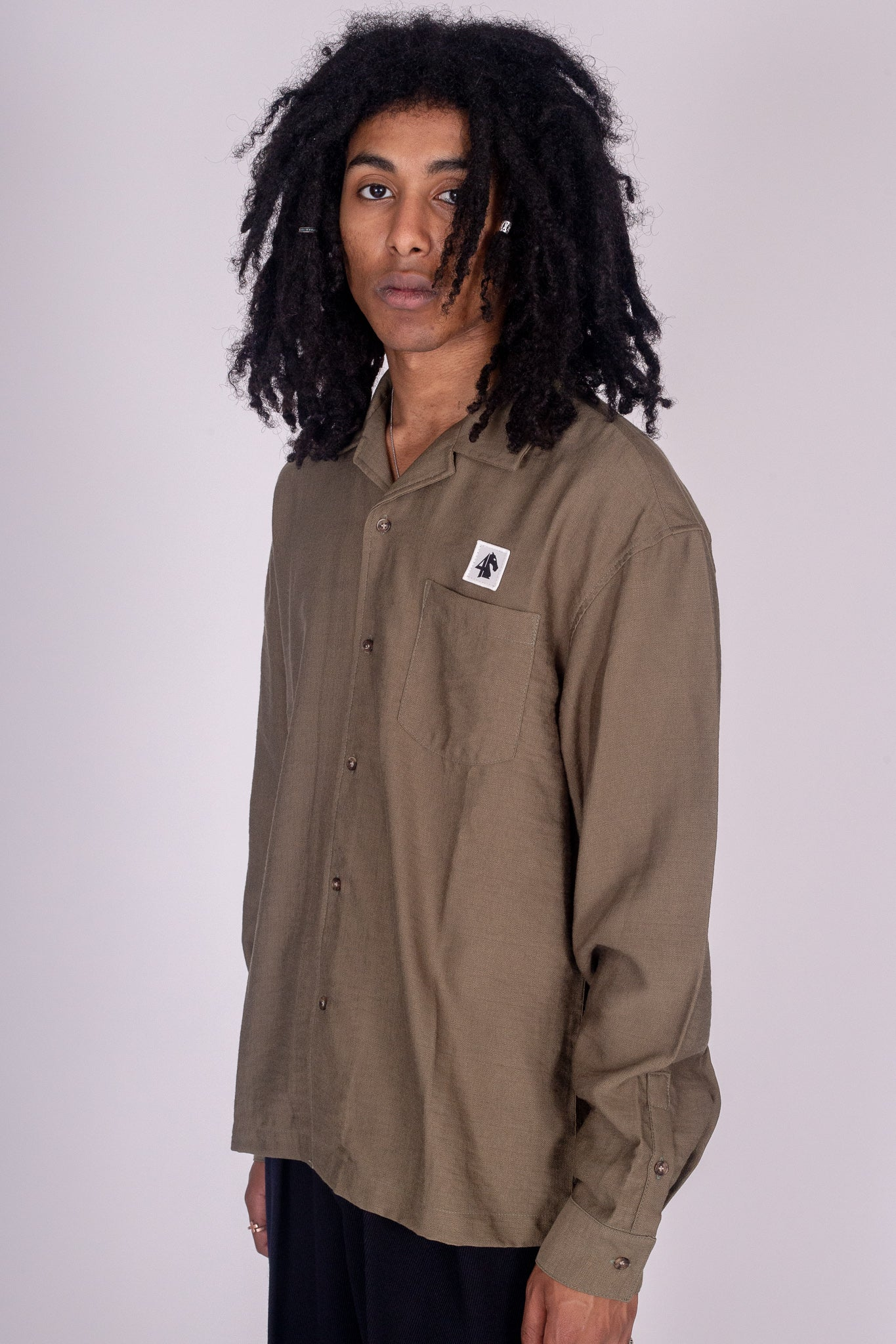 Icon Long Sleeve Camp Shirt Olive