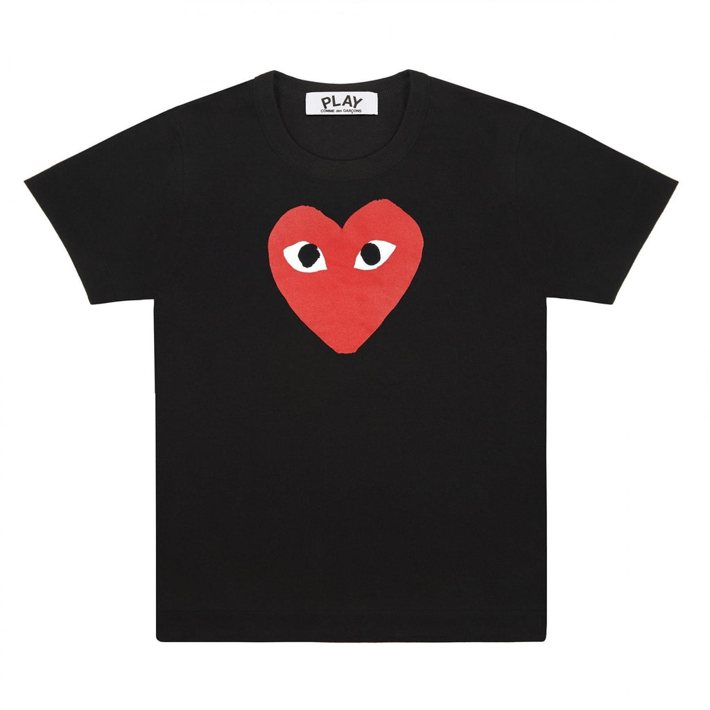 Comme des Garcon Red Heart Graphic Tee Black