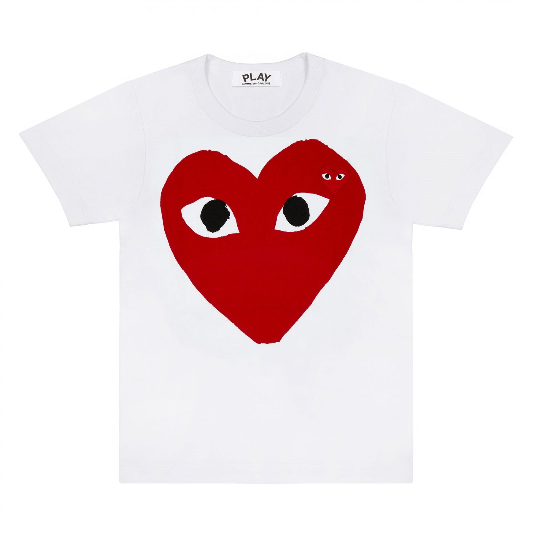 Big Red Heart W/ Red Embroidery Tee White