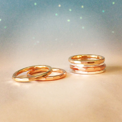hammered stack rings in gold and silver by Zoe and Piper