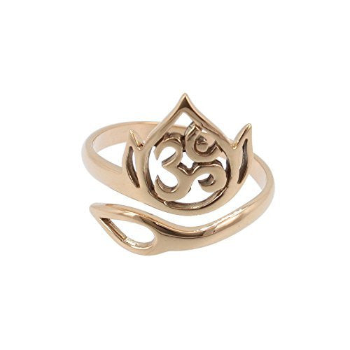 Adjustable Om And Lotus Flower Ring In Bronze Zoe And Piper