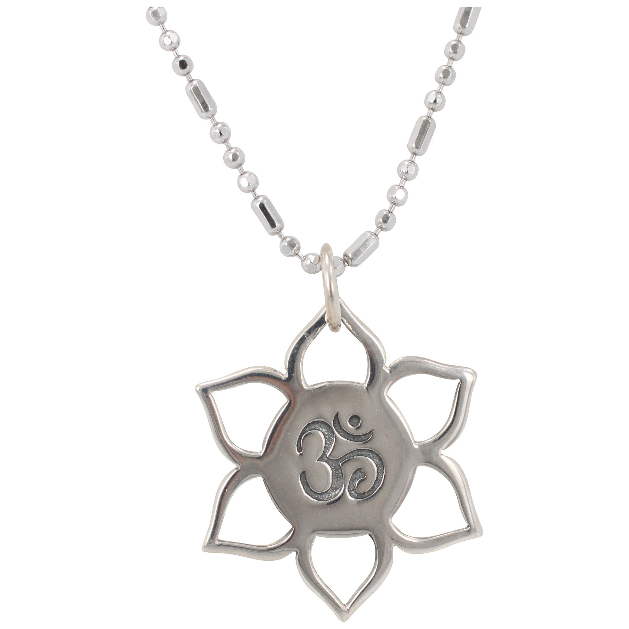 Lotus flower and om necklace zoe and piper small lotus flower and om necklace 6187 ss izmirmasajfo