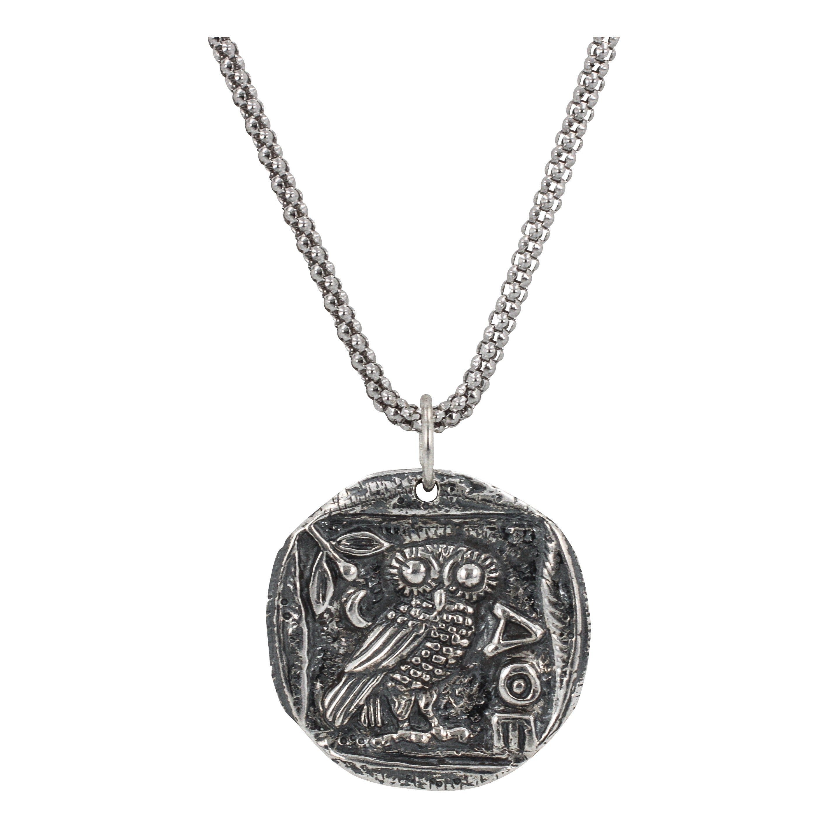 Ancient greek coin necklace with athenas owl zoe and piper ancient greek coin necklace with athenas owl in sterling silver 6329 ss mozeypictures Choice Image