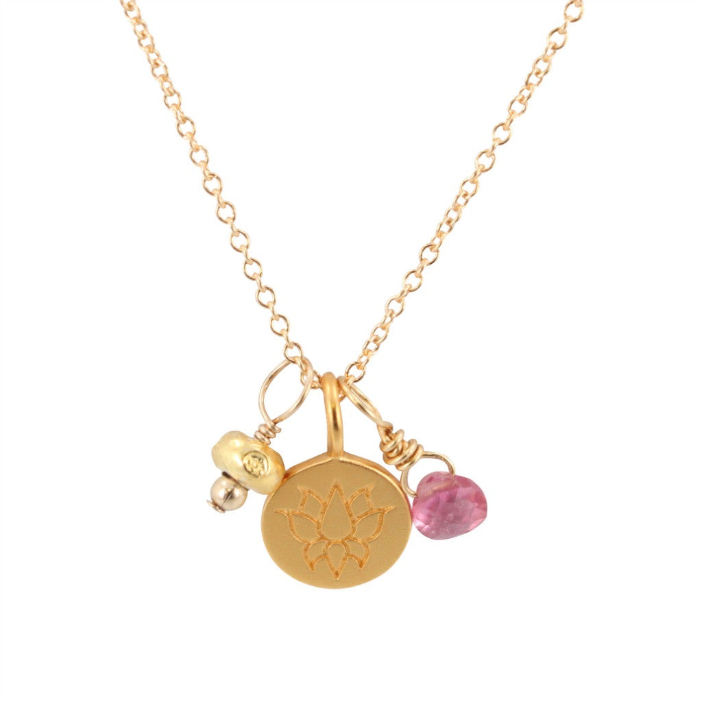 Lotus Flower Charm Necklace With Pink Sapphire 6540 Yg Zoe And Piper