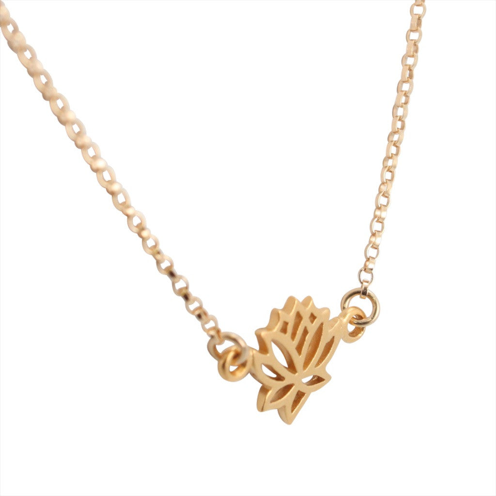 Delicate Gold Lotus Flower Necklace 6543 Yg Zoe And Piper