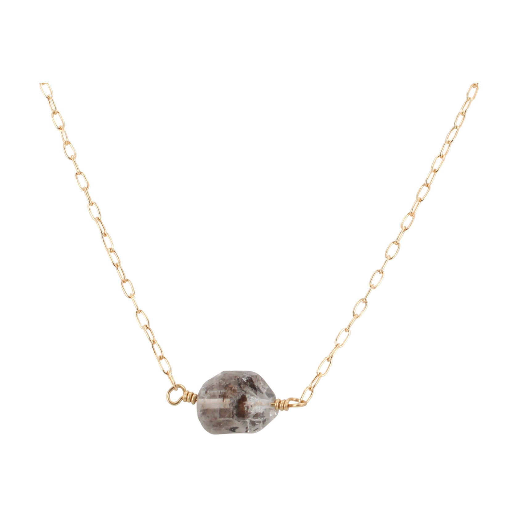 3 Stone Herkimer Diamond Necklace in Gold fill