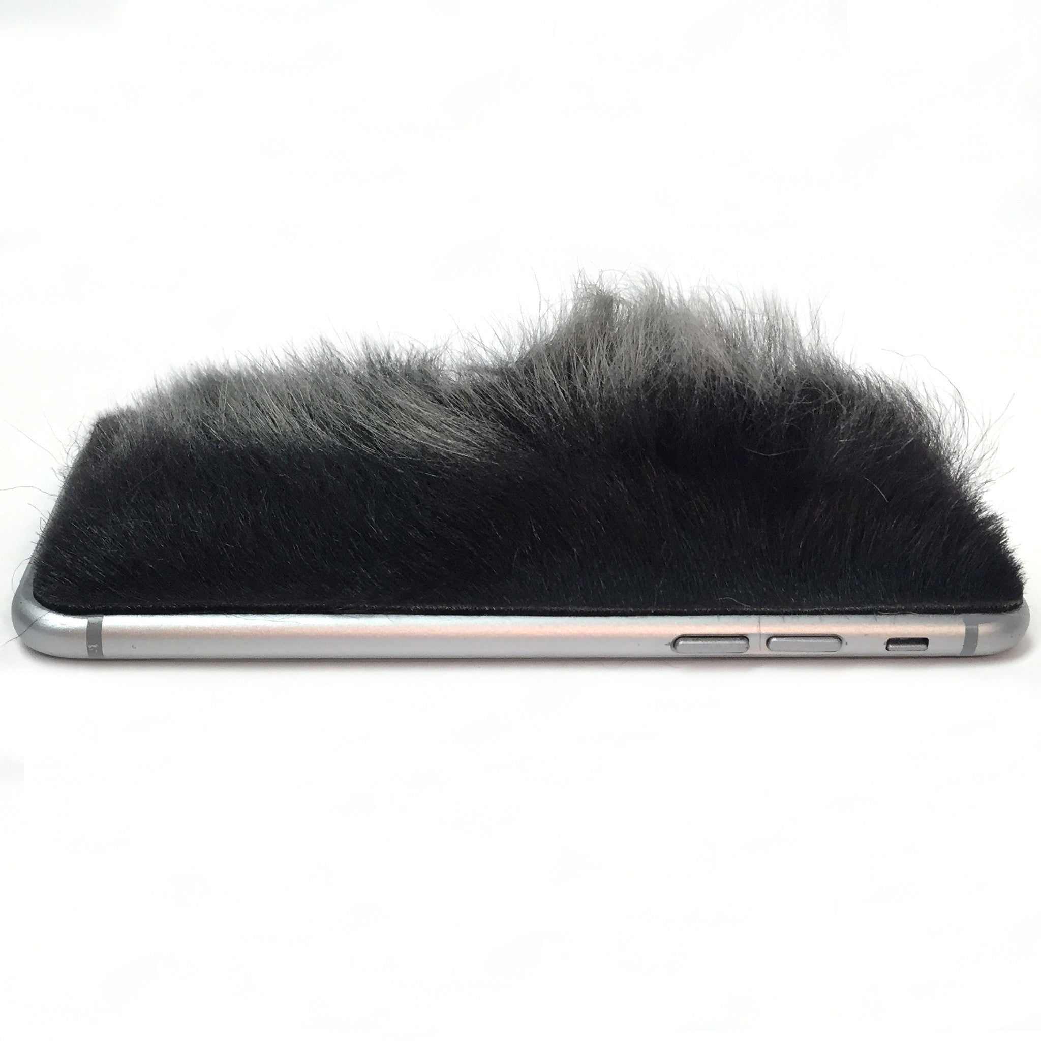 Two Tone Black Sheep Fur iPhone 6/6s Leather Skin