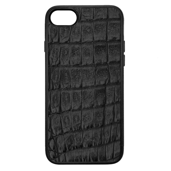 Black Crocodile iPhone 8 Leather Case