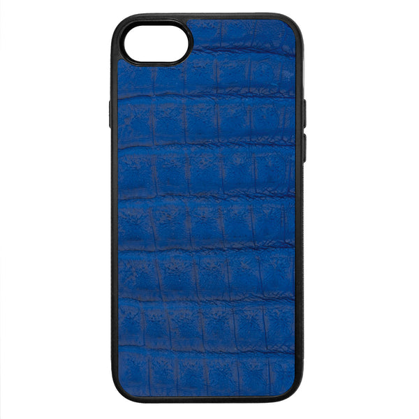 Cobalt Crocodile iPhone 8 Leather Case