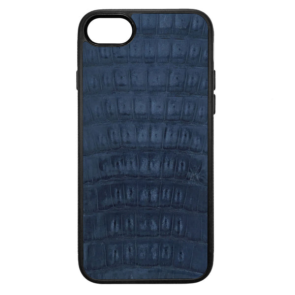 Gloss Navy Crocodile iPhone 8 Leather Case