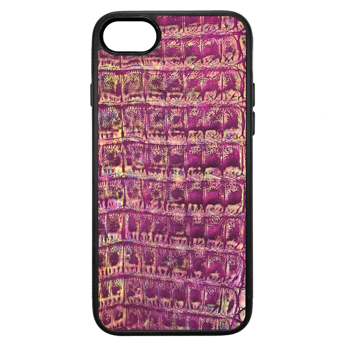 Metallic Purple Crocodile iPhone 8 Leather Case