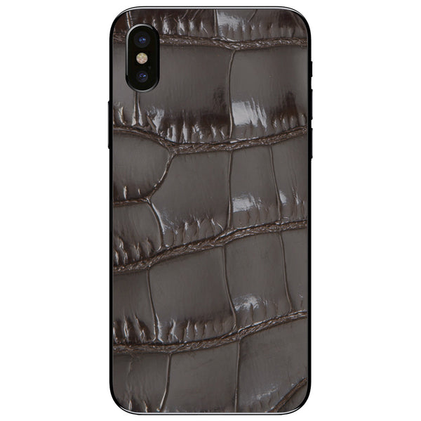 Gloss Brown Alligator iPhone XS Leather Skin