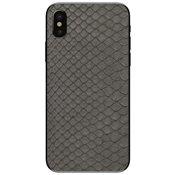 Gray Python Back iPhone XS Leather Skin