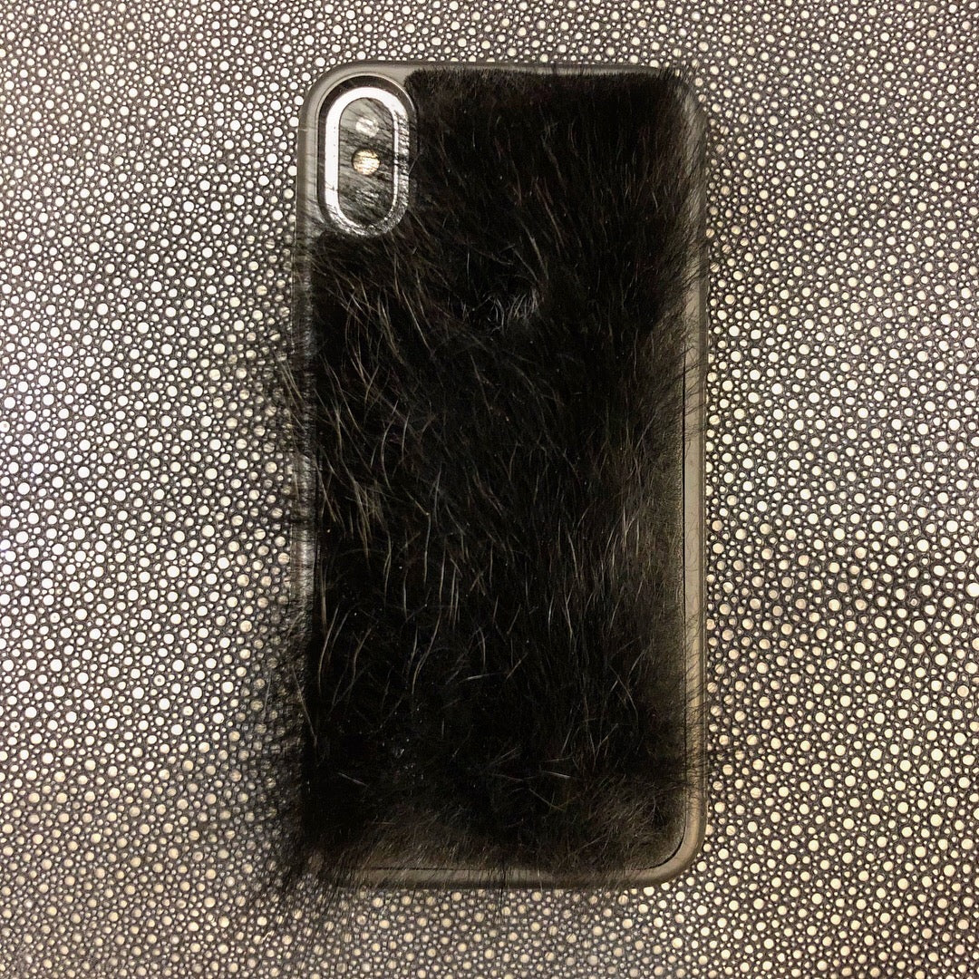 Black Lamb Hair iPhone XS Leather Case