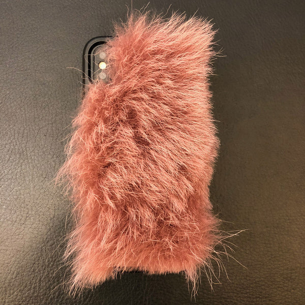 Pink Lamb Hair iPhone XS Leather Case