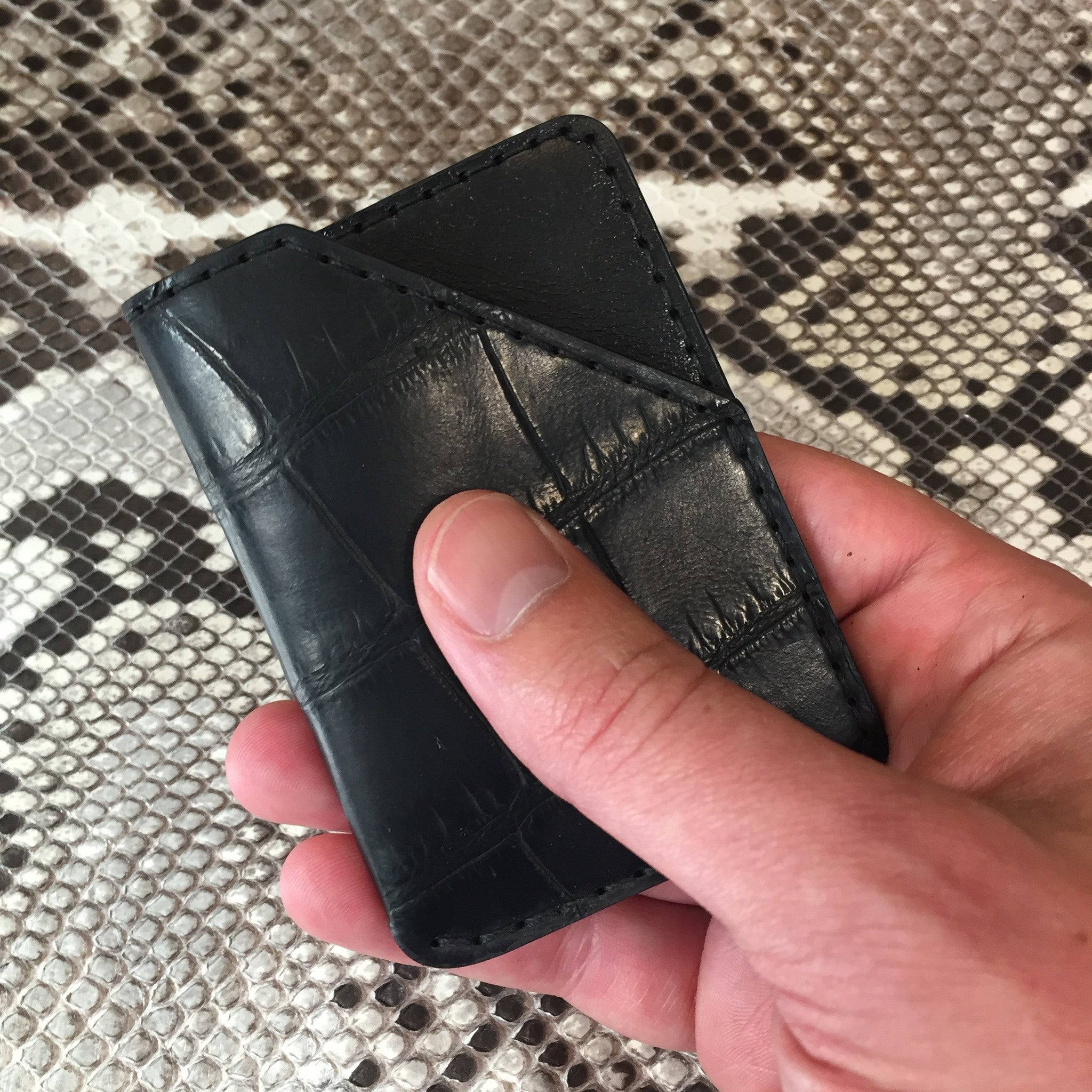 Black Alligator Leather Card Holder Sample