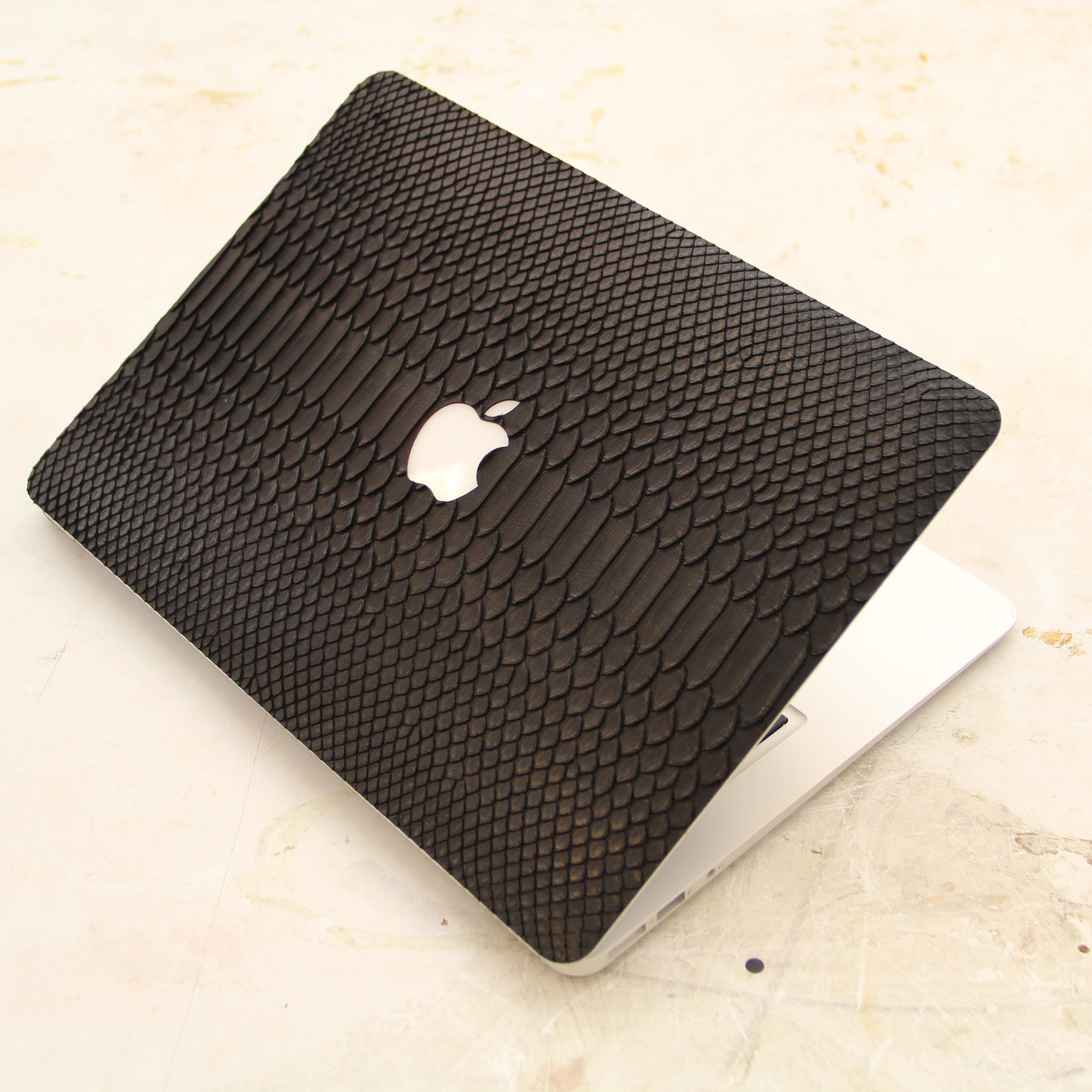 Black Python MacBook Leather Cover