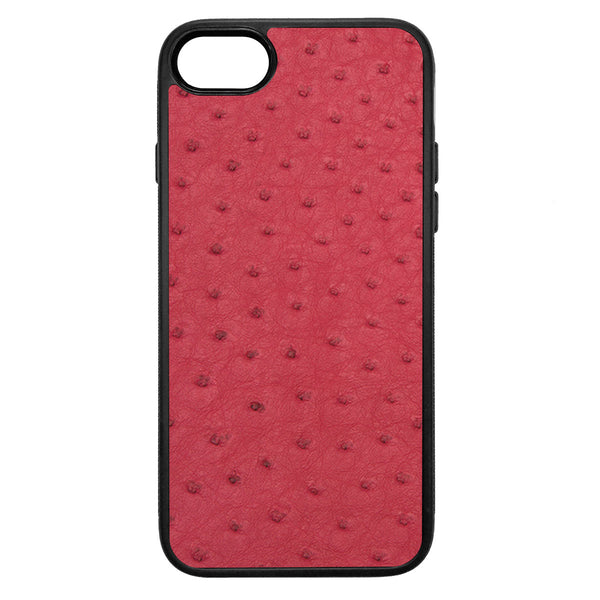 Red Ostrich iPhone 7 Leather Case