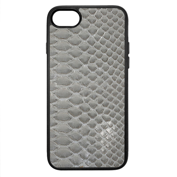 Gloss Gray Python Back iPhone 8 Leather Case