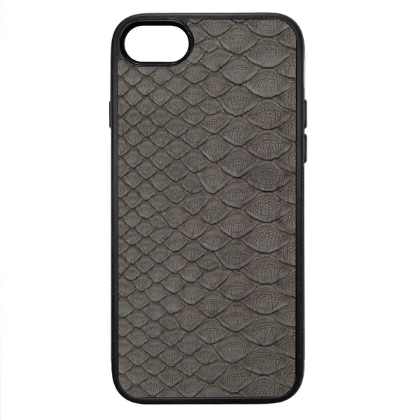 Gray Python Back iPhone 8 Leather Case