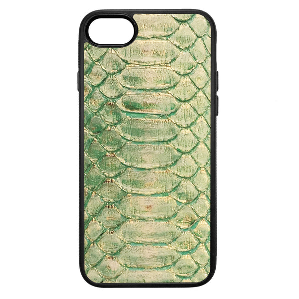 Emerald and Gold Python iPhone 7 Leather Case