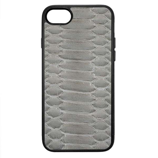 Gloss Gray Python iPhone 8 Leather Case